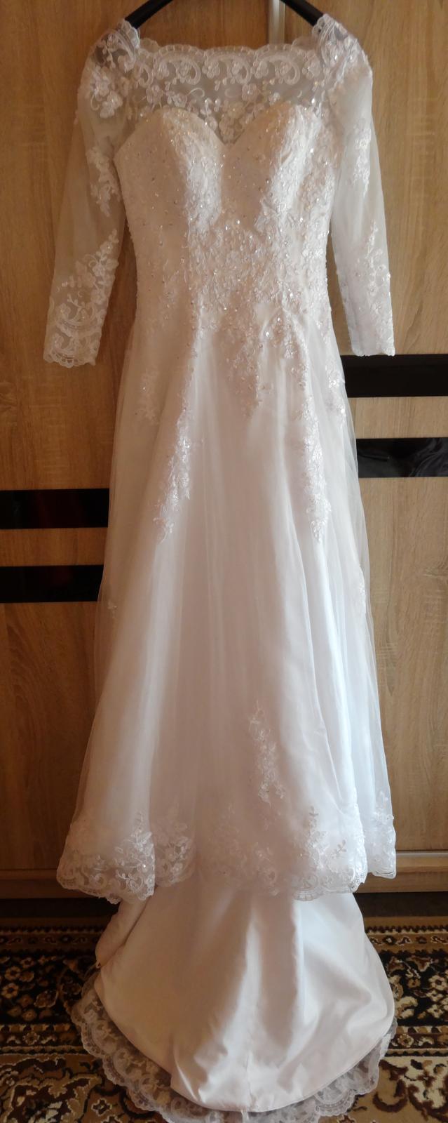 Svadobné šaty dlhý rukáv, krajka - Obrázok č. 4