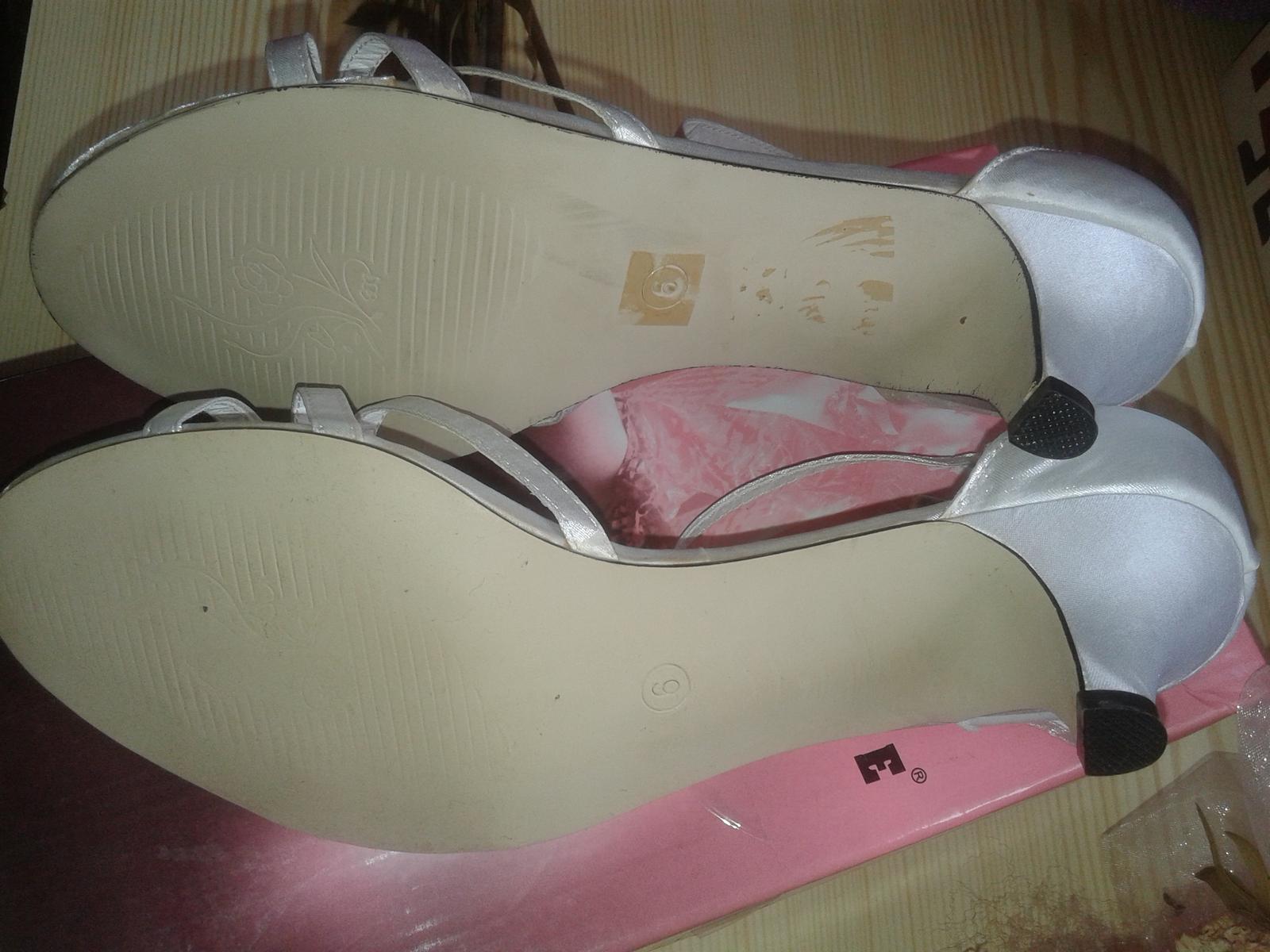 biele nizke sandalky 4.5 cm opatok, velkost 6 - Obrázok č. 3