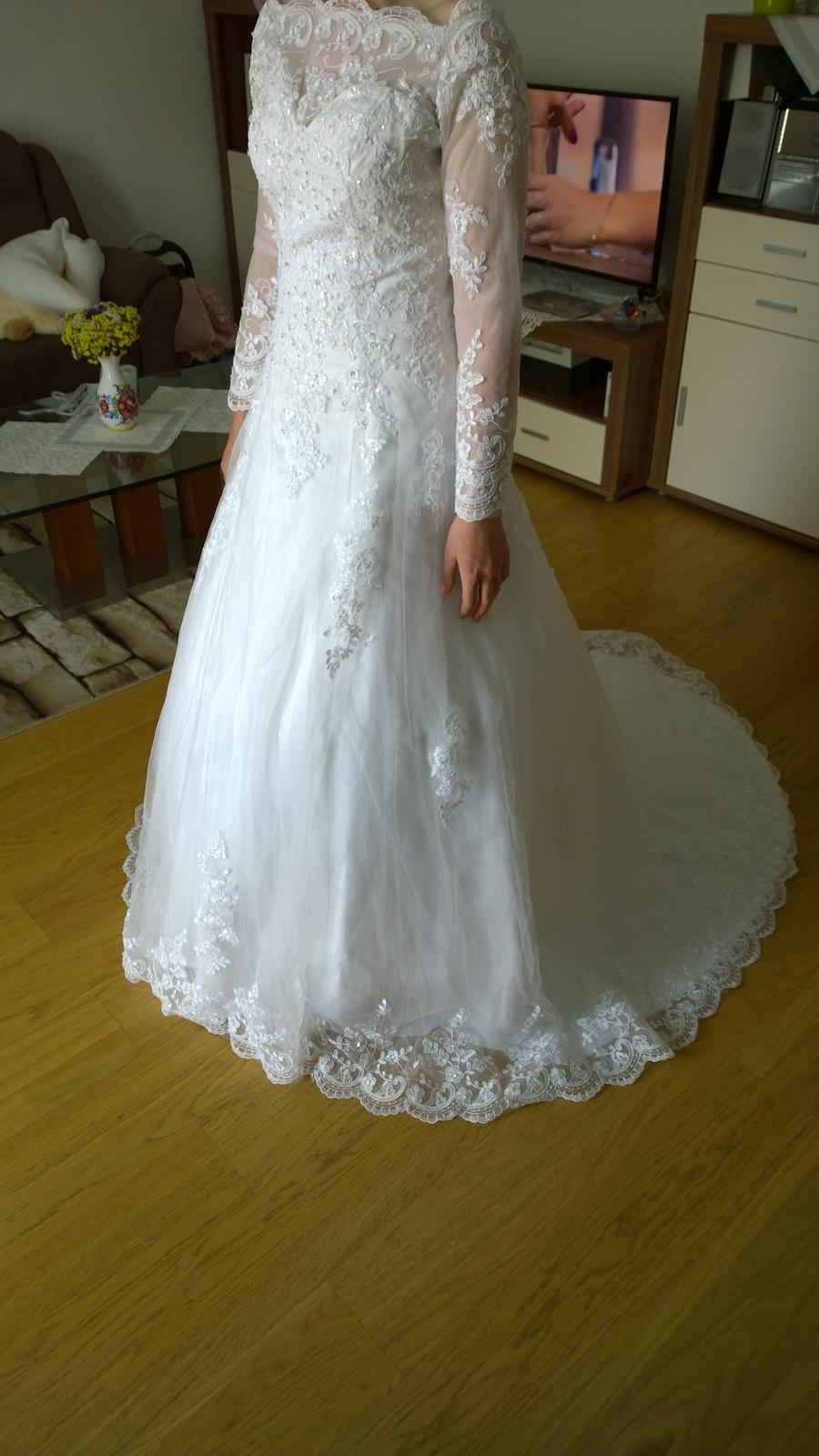 Svadobné šaty dlhý rukáv, krajka - Obrázok č. 1
