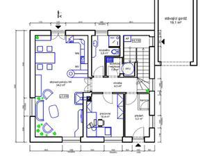 Studie 1.NP, půdorys domu 10x9m
