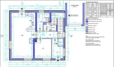 Půdorys 1.NP, 1.1.-zádveří 5,7m2, 1.2-komora 1,1.m2, 1.3-chodba, schodiště 11.55m2, 1.4-technická místnost 7,8m2, 1.5-koupelna 5,6m2, 1.6-obývací pokoj+KK 34m2, 1.7-pracovna 10,4m2