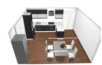 Kuchyň bude nakonec Ikea v černé barvě. Jako obklad bude sklo do fialova. Jen si nevím rady s barvou podlahy.