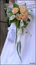 Tož tahle. Oranžové růže a bílé kaly. Už je domluvená. Uvidíme, jaká bude ve skutečnosti...