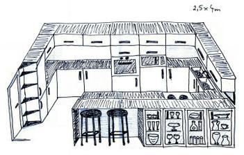 takto si predstavujem moju kuchynu - skusala som to na pc ako 3D, ale nakreslit mi to ide ovela rychlejsie... :D
