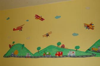 autá a lietadlá sú nálepky a okolie som dokreslila temperami...