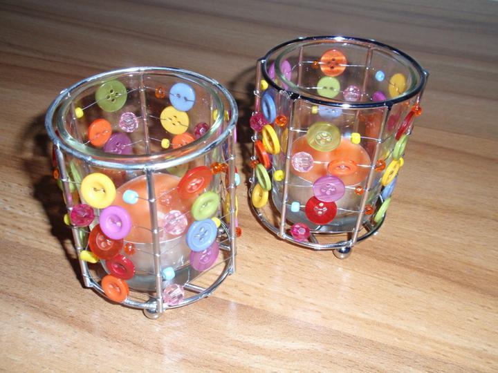 Co už mám - Knoflíkové skleničky na svíčky.