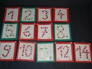 Číslování stolů - kartičky