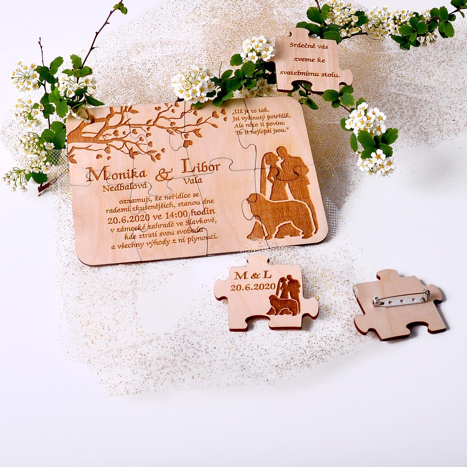 Svatební oznámení na míru přímo Vám :-) - precizní dřevěné svatební oznámení a mnoho dalších jedinečných doplňků na míru snoubencům www.slavnostnichvile.cz