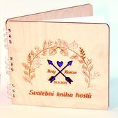 Kniha hostů - dřevěná s gravurou na přání,
