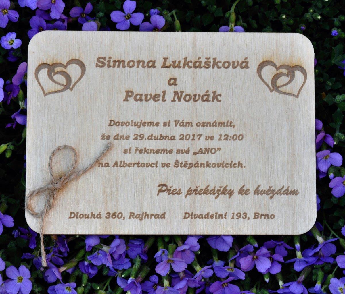 dřevěné svatební oznámení  - Obrázek č. 1
