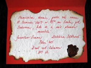 ...a zároveň pozvání na svatbu...