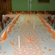 Tak podobně by mohla vypadat svatební tabule, ale u prostřed bude nařasená, čistě oranžová organza