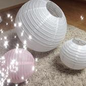 Lampiony 20 cm průměr - bílé a růžové,