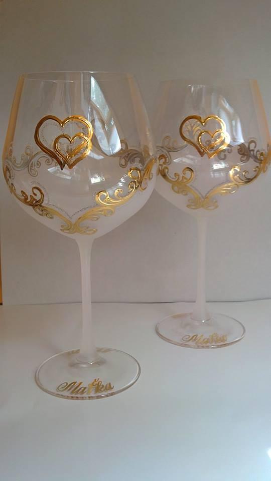 Svadobné poháre - Dekor č.50 ručne maľované svadobné poháre. použité pravé 24k zlato