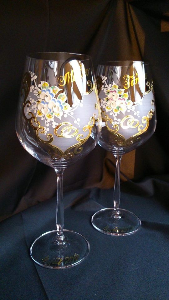 Svadobné poháre - Dekor č.66 Ručne maľované, použité pravé 24k zlato, pár 42€