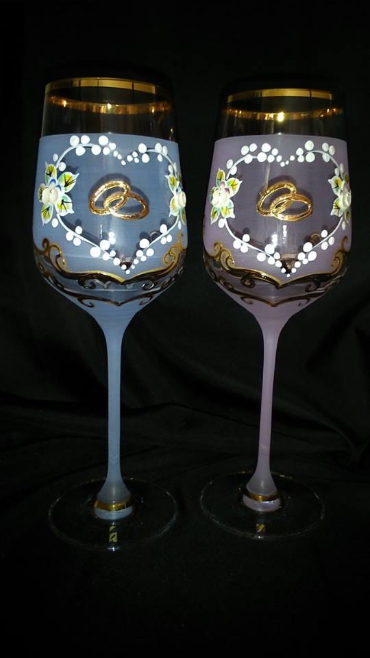 Svadobné poháre - Dekor č.22 ručne maľované svadobné poháre. použité pravé 24k zlato, pár 44€