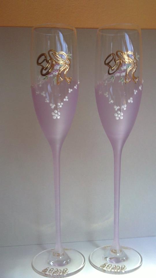 Svadobné poháre - Dekor č.65 Ručne maľované, použité pravé 24k zlato, pár 38€