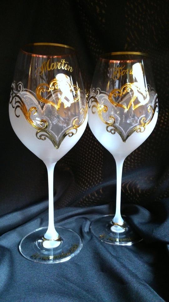 Svadobné poháre - Dekor č.41 ručne maľované svadobné poháre. použité pravé 24k zlato, pár 42€