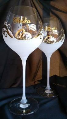 Svadobné poháre - Dekor č.11 ručne maľované svadobné poháre. použité pravé 24k zlato, pár 42€