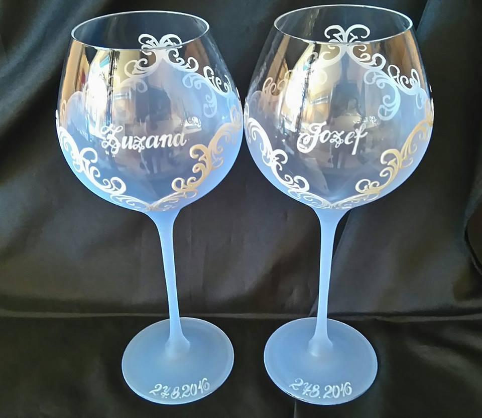 Svadobné poháre - Z+J - slabomodré svadobné poháre 40€