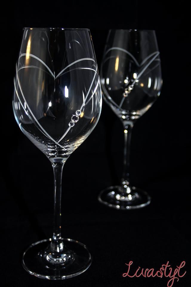 Svadobné poháre - BOHEMIAN CRYSTAL - sada swarovskeho pohárov na víno 26€