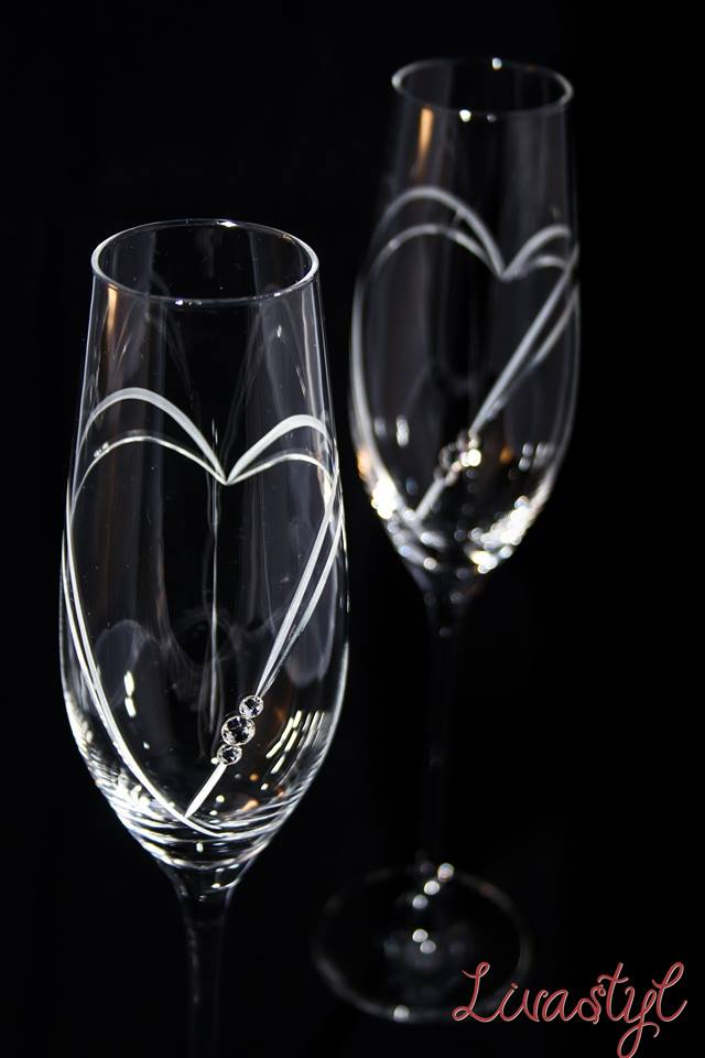 Svadobné poháre - Swarovski poháre - BOHEMIAN CRYSTAL - na šampanské. Pár 24€