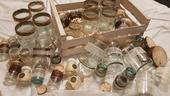 Vintage dekorace, sklenice, svícny,srdíčka, tyl,