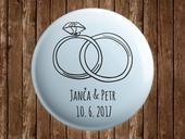Svatební placka s vlastními jmény - prsteny,