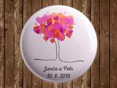Svatební placka s vlastními jmény  - strom,