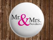 Svatební placka Mr. & Mrs. + vlastní příjmení,