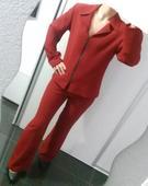 Dámske sako a nohavice červené veľkosť 38 - 40, M, 38