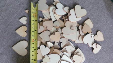 100ks srdíček, dřevěná, mix - Obrázek č. 1
