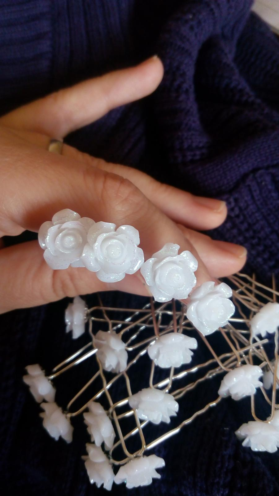 vlásenky bíly květ , sponky - Obrázek č. 2
