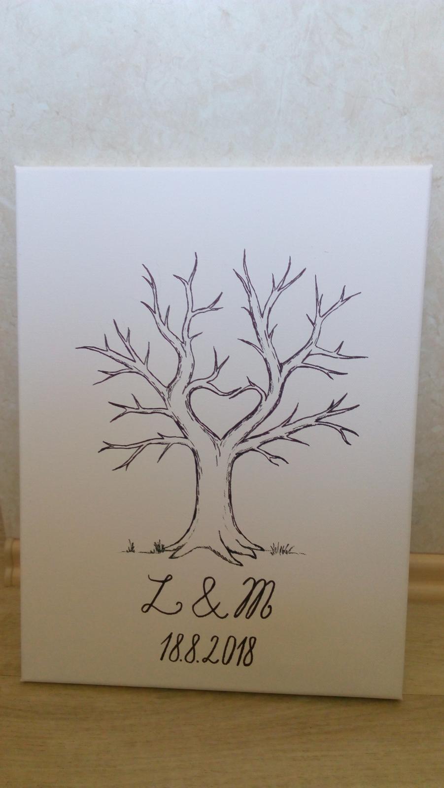 kreslený svatební strom na plátně - Obrázek č. 2