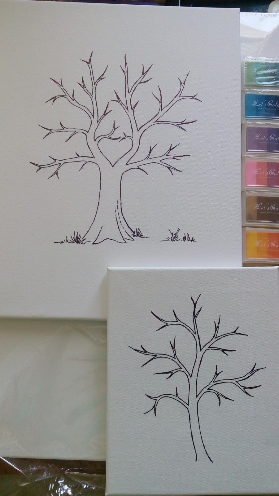 kreslený svatební strom na plátně - Obrázek č. 4