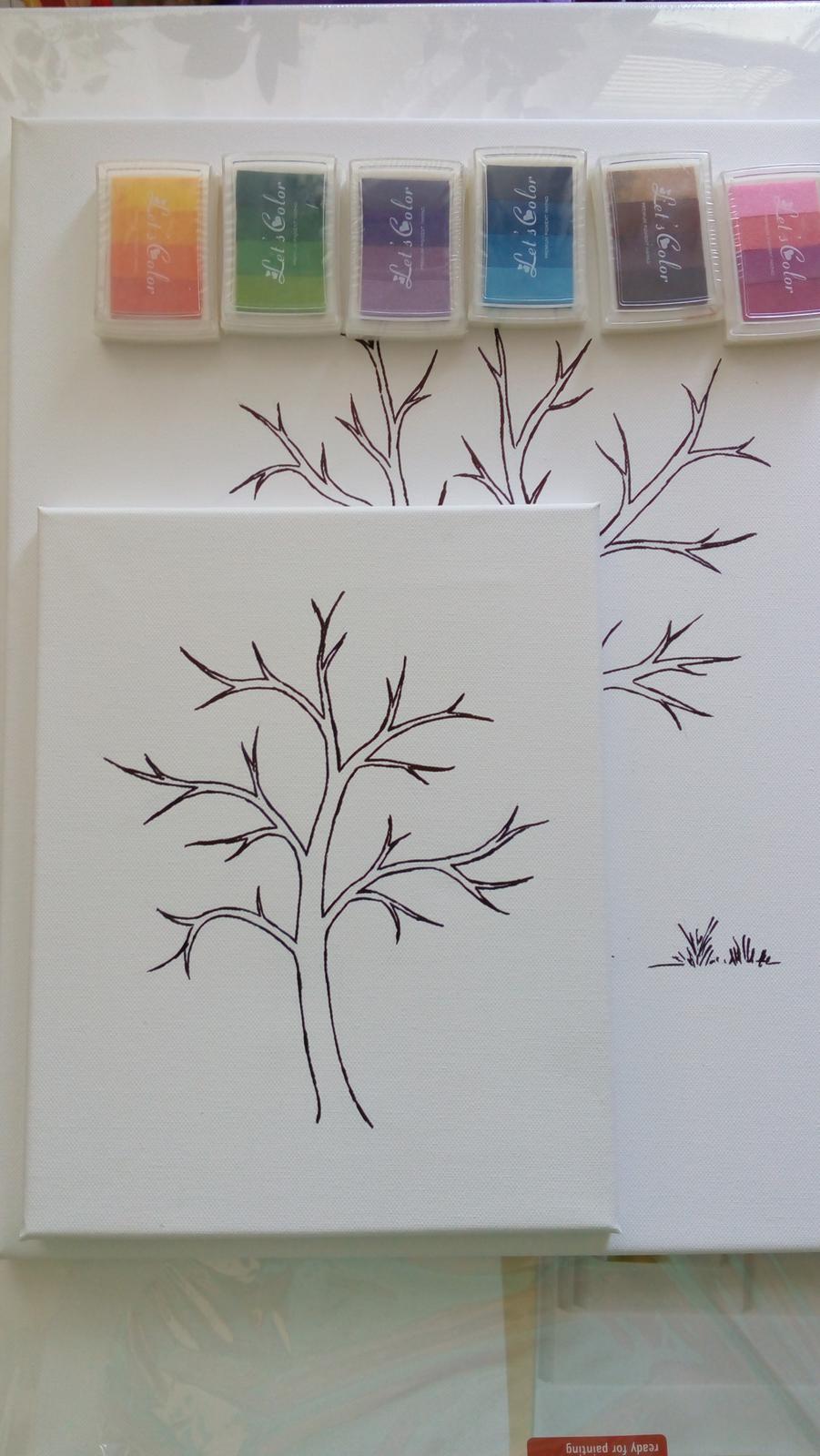 kreslený svatební strom na plátně - Obrázek č. 3