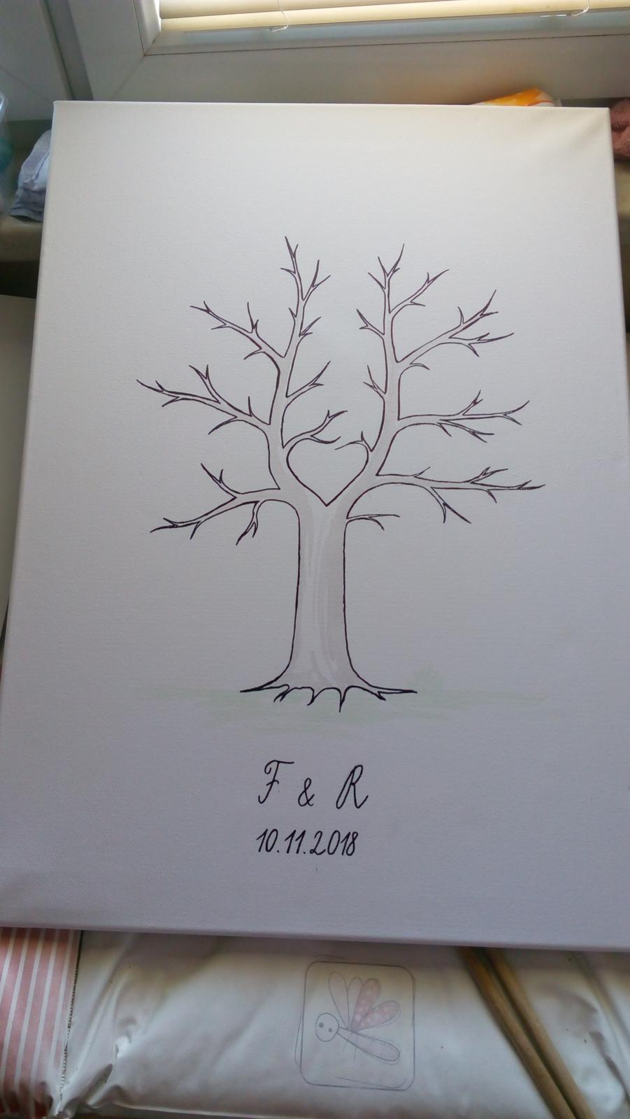 kreslený svatební strom na plátně - Obrázek č. 1