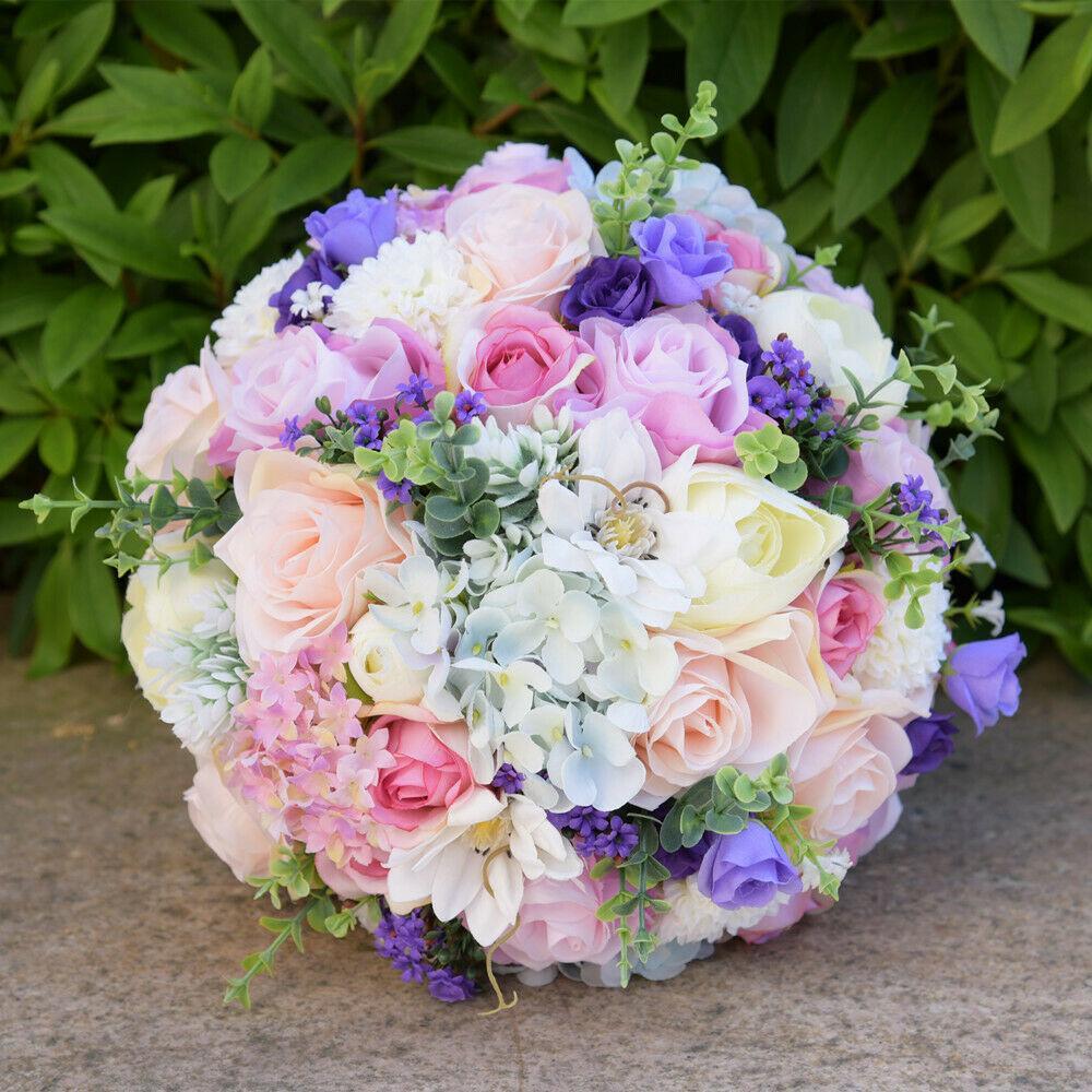 Fialová svatba - Svatební kytice z umělých květin