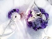Saténová svatební kytice a korsáž - shabby shic,