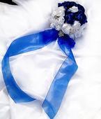 Saténová, brožovaná svatební kytice a korsáž ,
