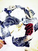 Denimová, riflová svatební kytice a korsáž,