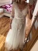 Svatební BOHO šaty s rukávky, 38