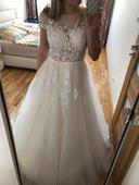 Krajkované svatební šaty, vel M, 38