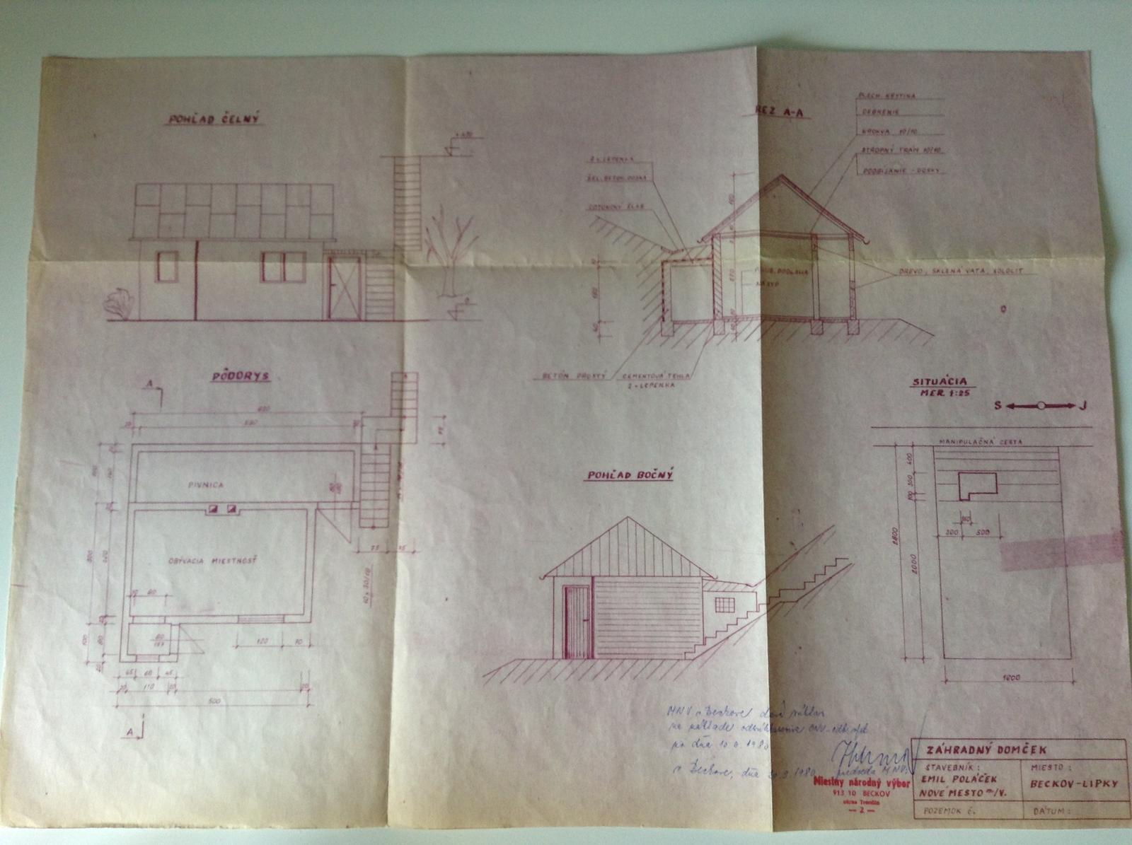 """""""Domček"""" - Projekt Záhradného domčeka schválený Miestnym národným výborom v marci 1980"""