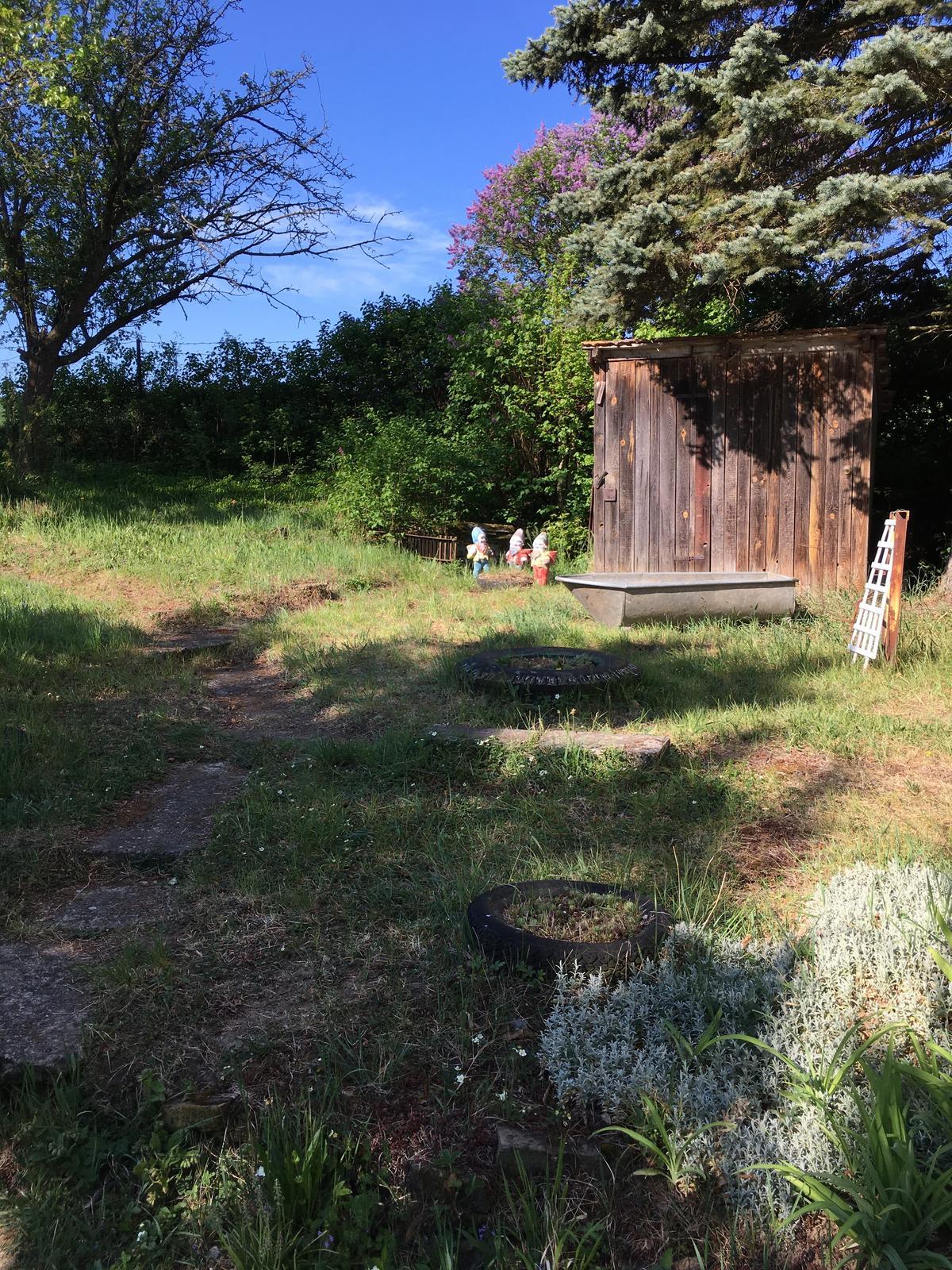 Perníková chalúpka - ...traja trpaslíci v záhrade...
