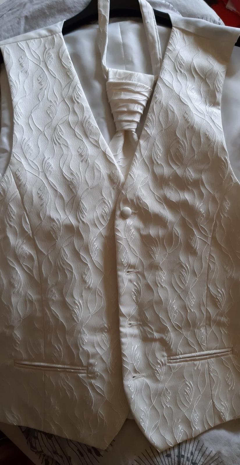 Panska svadobna vesta s kravatou - Obrázok č. 2