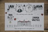 Ilustrované svatební oznámení s portréty,