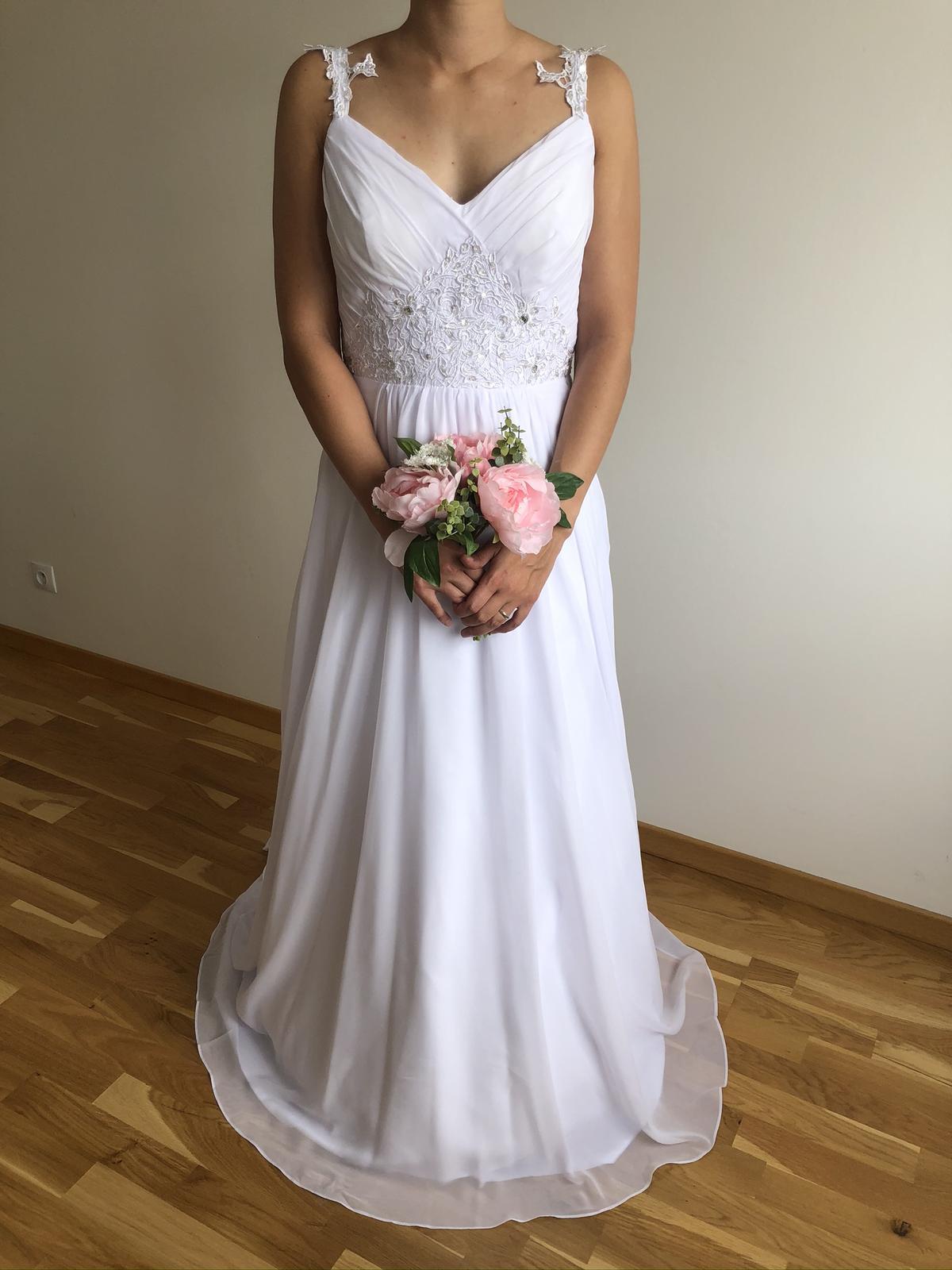 Splývavé svatební šaty, vel 40-42 - Obrázek č. 2