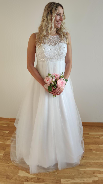 Svatební šaty s vysokým pasem - i těhotenské 36-40 - Obrázek č. 2