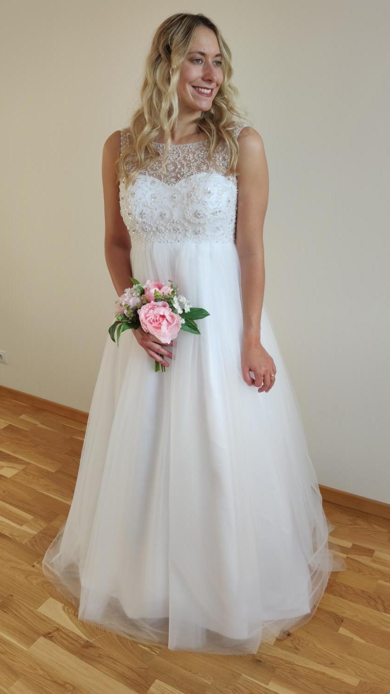 Svatební šaty s vysokým pasem - i těhotenské 36-40 - Obrázek č. 4